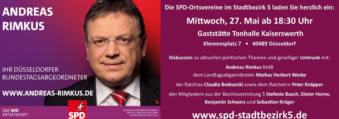 Einladung: Diskussionsveranstaltung mit Andreas Rimkus am Mittwoch, 27. Mai in Kaiserswerth