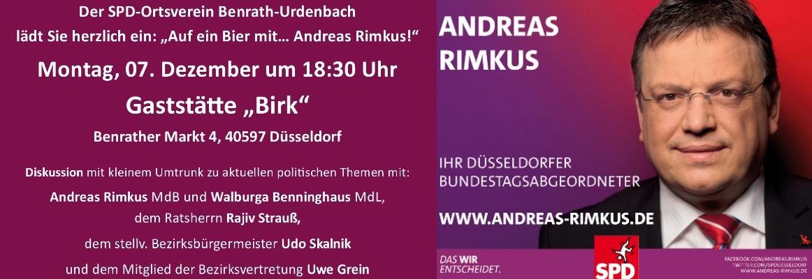 Einladung: am 07.12. Diskussionsveranstaltung mit Andreas Rimkus und dem OV Benrath-Urdenbach
