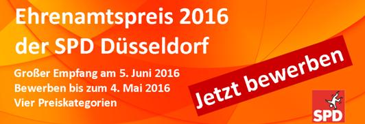 Ehrenamtspreis 2016 der SPD Düsseldorf – Ausschreibung zur Preisverleihung läuft bis zum 04. Mai