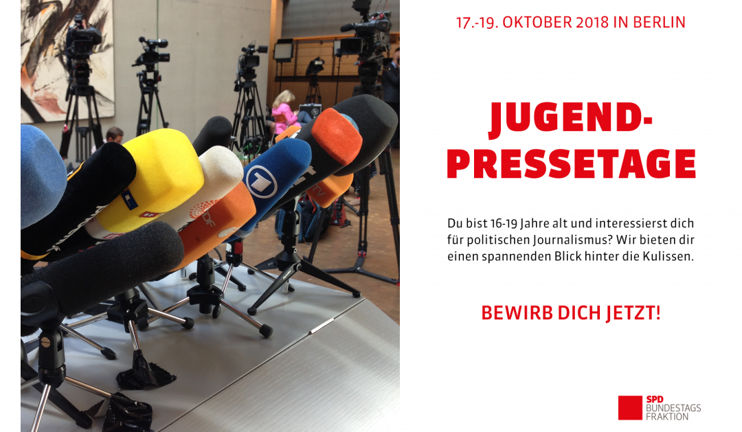Jetzt bewerben: Schülerzeitungsredakteur*in aus Düsseldorf gesucht! Jugendpressetage 2018 vom 17. bis 19. Oktober in Berlin