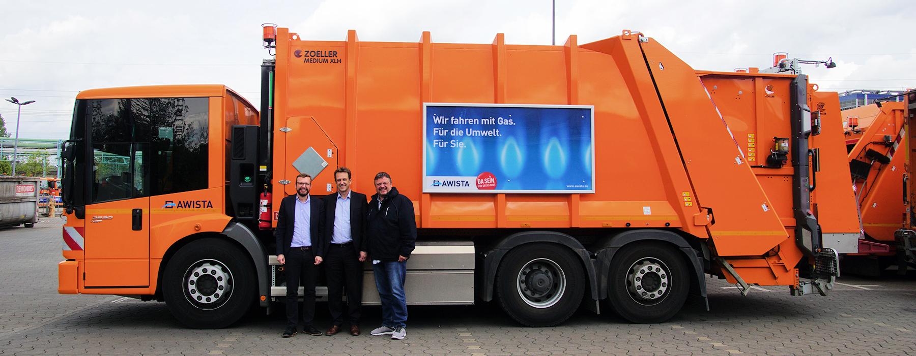 """MdB Rimkus und Ratsherr Tacer zu Besuch bei der AWISTA: """"Der Einsatz von Biogas-Fahrzeugen unterstreicht die ökologische Verantwortung des Unternehmens!"""""""